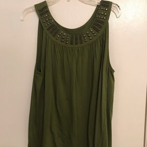 Olive Green M Tank Top with Metallic Detail